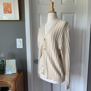 Vintage pointelle knit soft cotton cardigan